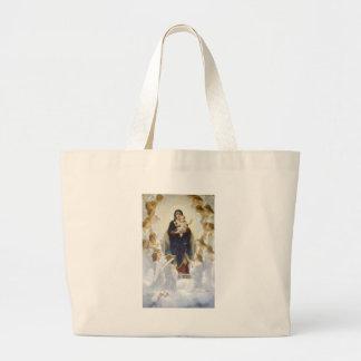 Virgen María y Jesús con ángeles Bolsa Tela Grande