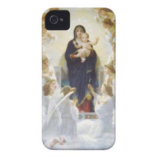 Virgen María y Jesús con ángeles iPhone 4 Carcasas