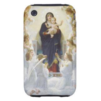 Virgen María y Jesús con ángeles Tough iPhone 3 Carcasas