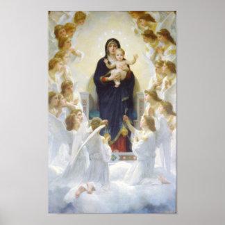 Virgen María y Jesús con ángeles Póster