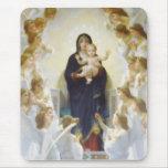 Virgen María y Jesús con ángeles Tapetes De Raton