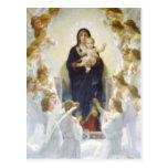 Virgen María y Jesús con ángeles Tarjetas Postales