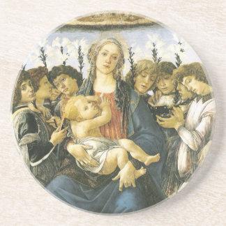 Virgen, niño y ornamento de los ángeles posavasos para bebidas