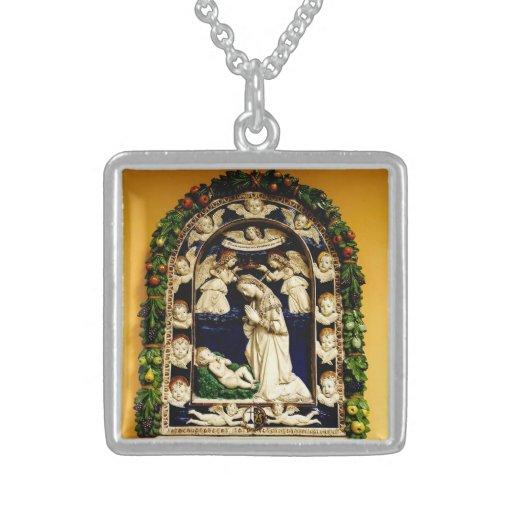 Virgen que adora al niño de Cristo Colgante Cuadrado