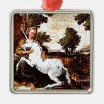 Virgen y el unicornio adorno navideño cuadrado de metal