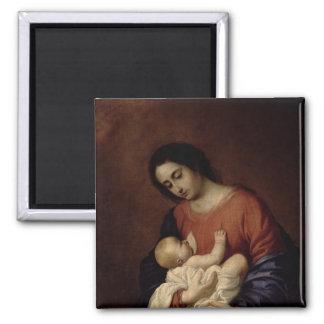 Virgen y niño, 1658 imán cuadrado