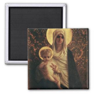 Virgen y niño, 1872 imán cuadrado