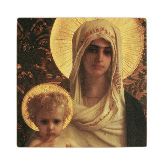 Virgen y niño, 1872 posavasos de madera