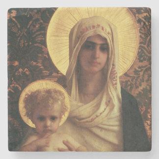 Virgen y niño, 1872 posavasos de piedra