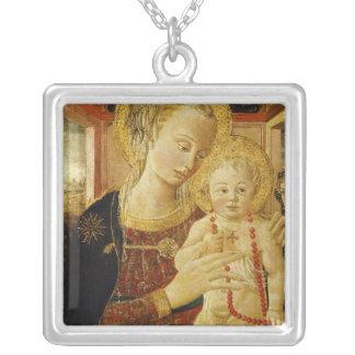 Virgen y niño 2 collar plateado