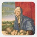 Virgen y niño 3 calcomanias cuadradas