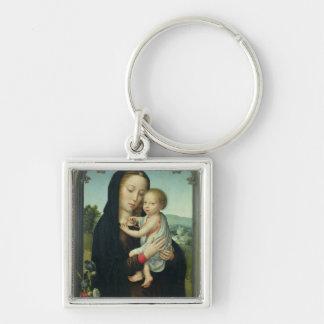 Virgen y niño (aceite en el panel) llavero cuadrado plateado