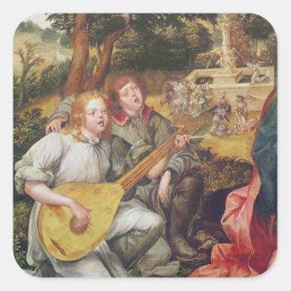 Virgen y niño con ángeles calcomania cuadradas