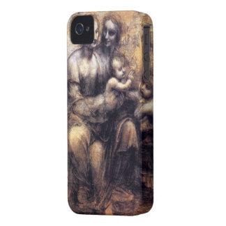 Virgen y niño con el bosquejo de St Anne Case-Mate iPhone 4 Protectores