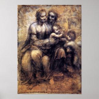 Virgen y niño con el bosquejo de St Anne Póster