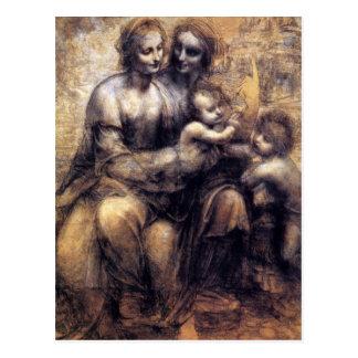Virgen y niño con el bosquejo de St Anne Postal