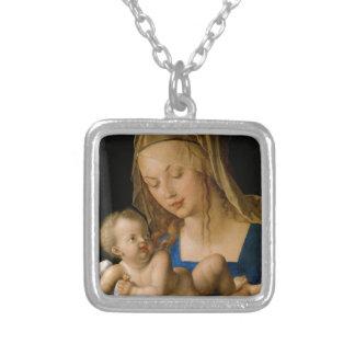 Virgen y niño con la pera de Albrecht Durer Colgante Cuadrado