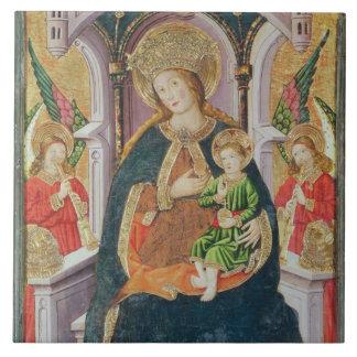 Virgen y niño con los músicos del ángel azulejo cuadrado grande
