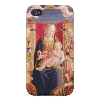 Virgen y niño con los músicos y los santos del áng iPhone 4 funda