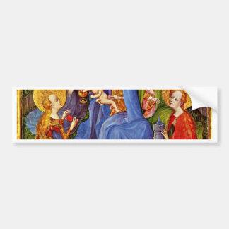 Virgen y niño con los santos de Kölner Maler Um 14 Etiqueta De Parachoque