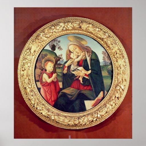 Virgen y niño con San Juan Bautista Póster