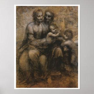 Virgen y niño con Santa Ana y Juan, da Vinci Póster