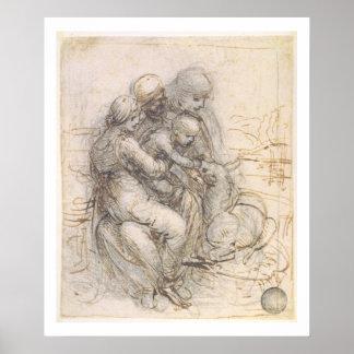 Virgen y niño con St Anne, c.1501-10 (pluma y Póster