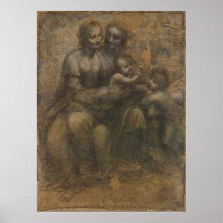 Virgen y niño con St Anne de Leonardo da Vinci Impresiones