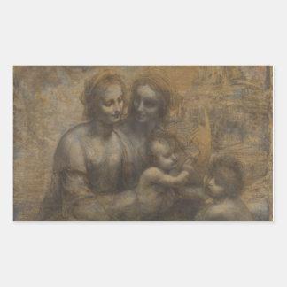 Virgen y niño con St Anne de Leonardo da Vinci Pegatina Rectangular