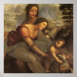 Virgen y niño con St Anne y cordero por DaVinci Póster
