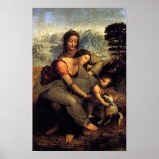 Virgen y niño con St Anne y el cordero Póster