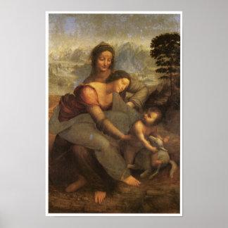 Virgen y niño con St Anne y un cordero, 1508 Póster