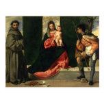 Virgen y niño con St Anthony de Padua Tarjetas Postales