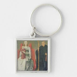 Virgen y niño con St. Benedicto Llavero Cuadrado Plateado