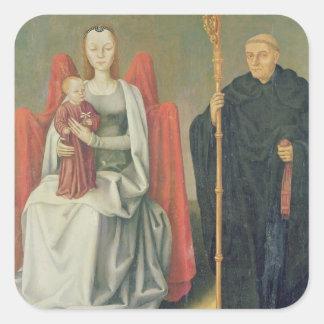 Virgen y niño con St. Benedicto Colcomanias Cuadradas Personalizadas