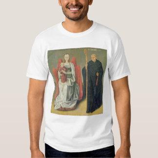 Virgen y niño con St. Benedicto Playera