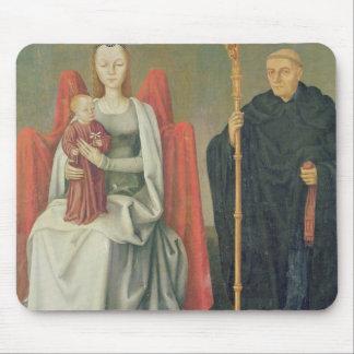 Virgen y niño con St. Benedicto Tapete De Ratones