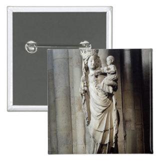 Virgen y niño, conocidos como Notre-Dame de Paris Pin Cuadrada 5 Cm