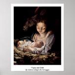 Virgen y niño de Antonio Allegri DA Correggio Poster