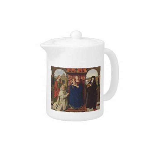 Virgen y niño de enero Eyck- con los santos y el d