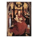 Virgen y niño de Hans Memling- Enthroned Tarjeton