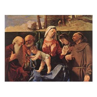 Virgen y niño de la loteria de Lorenzo con los san Tarjeta Postal
