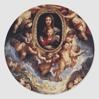 Virgen y niño de Peter Rubens- adorados por Etiqueta Redonda