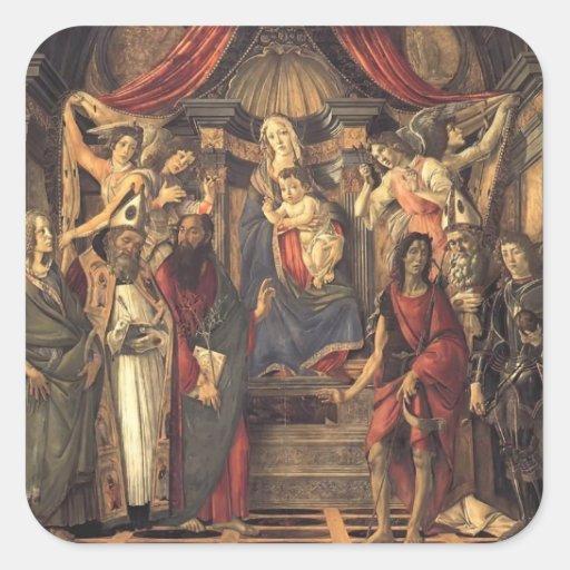 Virgen y niño de Sandro Botticelli- con los santos Pegatina Cuadrada