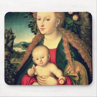 Virgen y niño debajo de un manzano tapetes de ratones