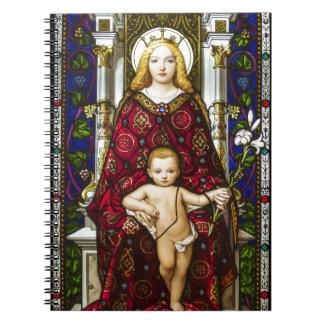Virgen y niño del vitral libros de apuntes con espiral