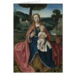 Virgen y niño en bella arte del vintage del paisaj tarjeton