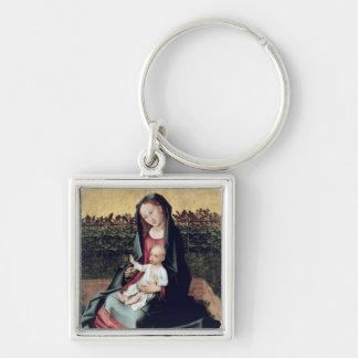 Virgen y niño en el pequeño jardín llaveros personalizados