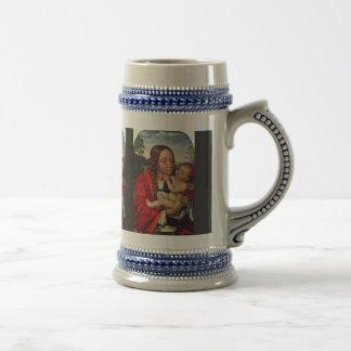 Virgen y niño en un paisaje taza de café