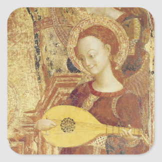 Virgen y niño Enthroned con seis ángeles Calcomania Cuadradas Personalizada